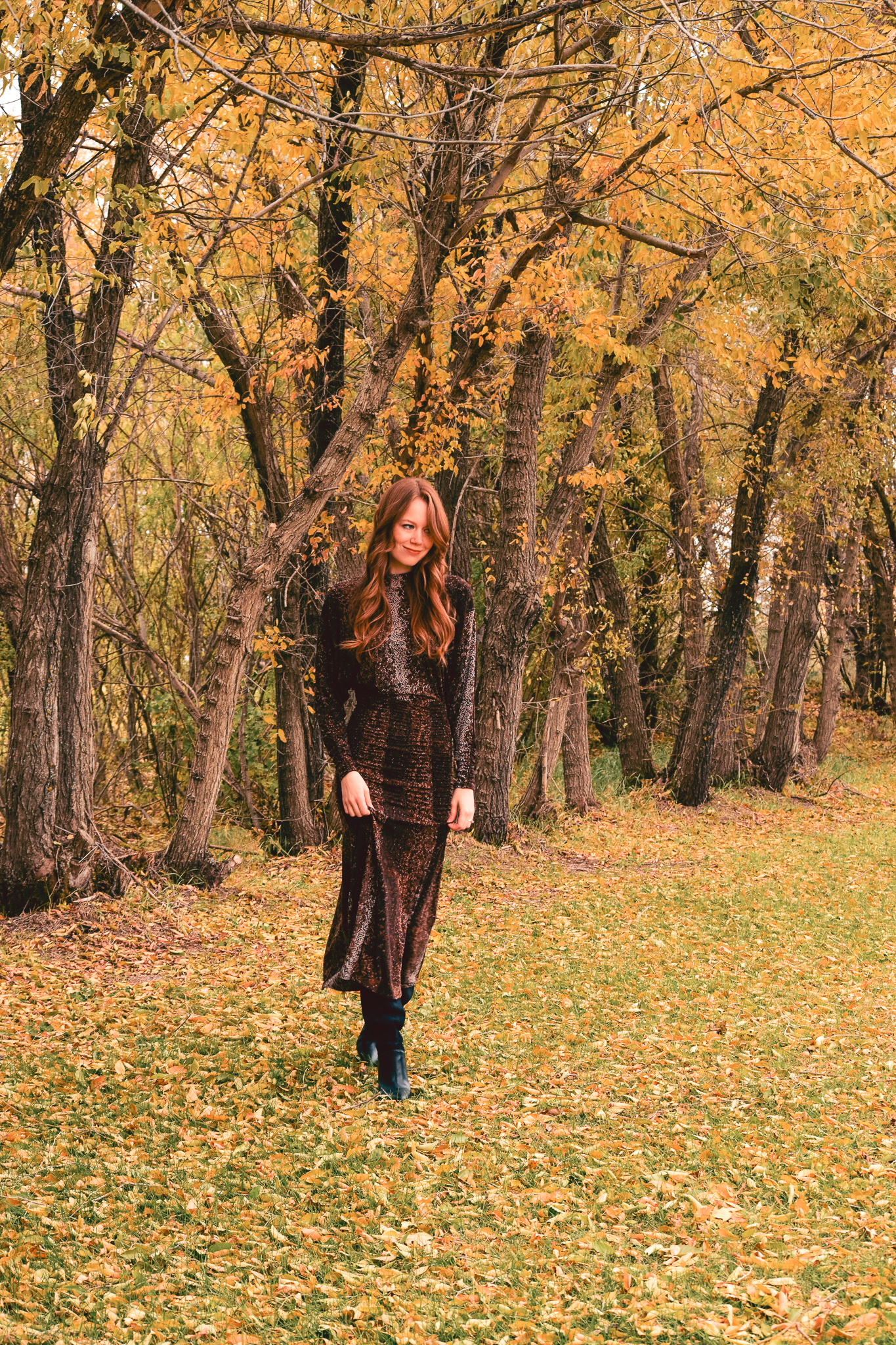 midi dress and slouchy boots
